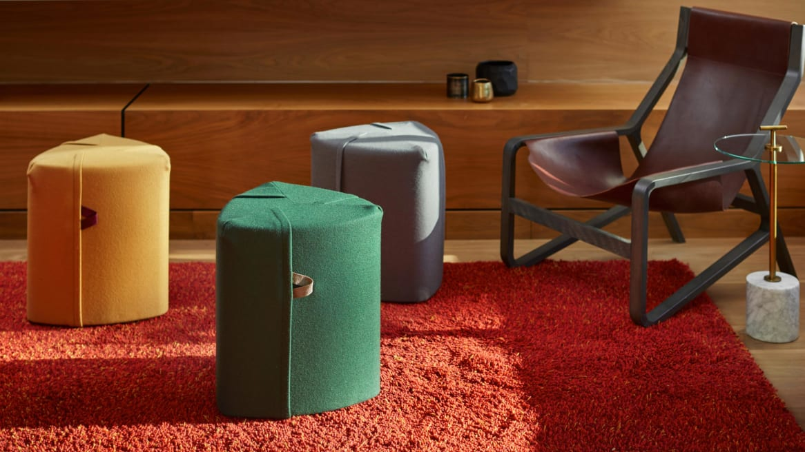 Campfire Pouf seating and a Blu Dot Toro lounge chair in an office lounge