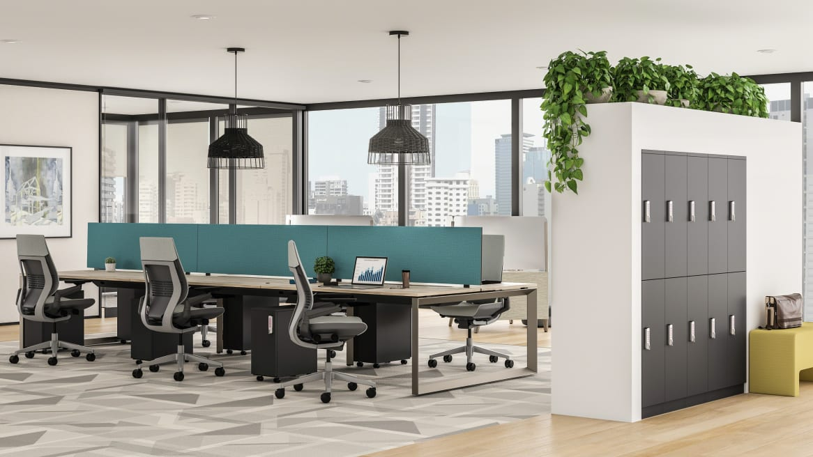 TS Series Storage is seen in an office space that also features Steelcase Gesture desk chairs with gray upholstery