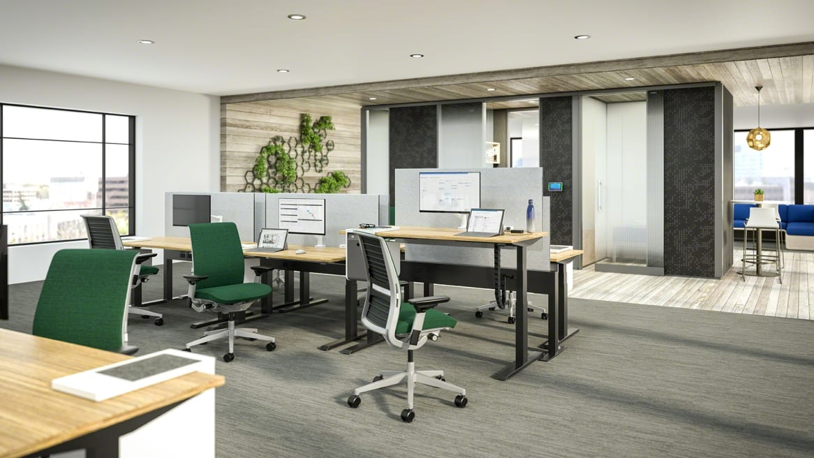 Rendering showing workstations created with Answer Fence, Migration height-adjustable desks, and Think chairs with green upholstery