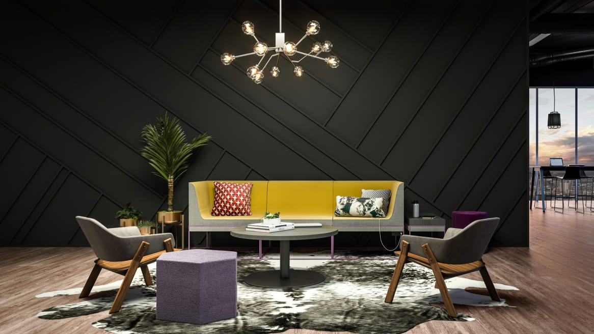 Rendering of an office lounge setting featuring Umami lounge seating, a Groupwork coffee table, Blu Dot Clutch leather lounge chairs, and a Blu Dot Hecks ottoman