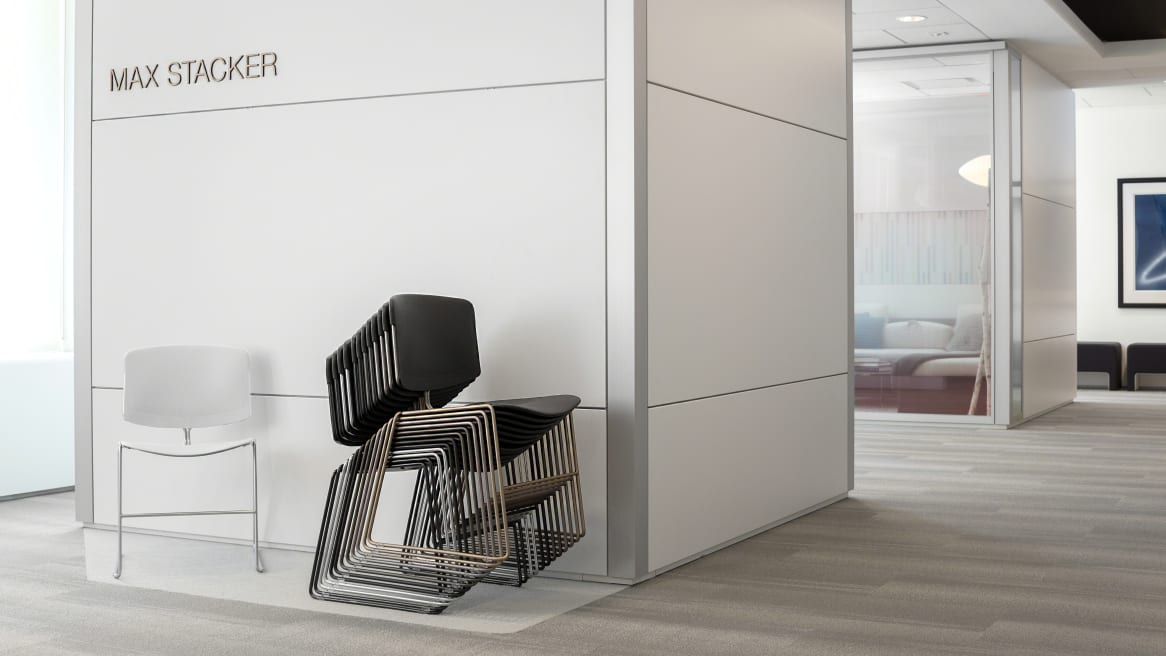 Corporate Environment Set Up with stacked Max Stacker III chairs
