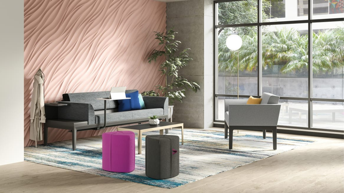 An office lounge features a Steelcase Surround lounge, Campfire Pouf seating, and Coalesse CG_1 table