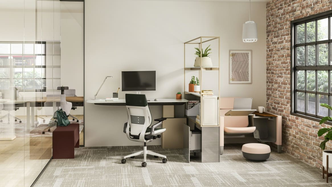 Office area features a Mackinac worksurface, Gesture chair, and Brody seat