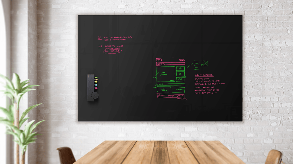 Collaborative ToolBar installed on black gloss a3 CeramicSteel Sans board in a meeting space.