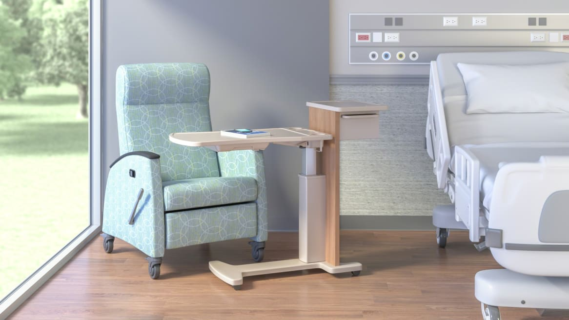 Hospital's room with the Opus Mobile Overbed Table.
