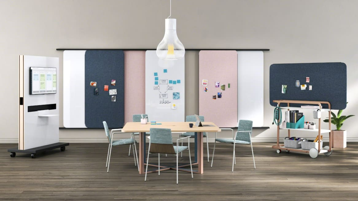 Verlay Conference Room with mobile whiteboards on the wall