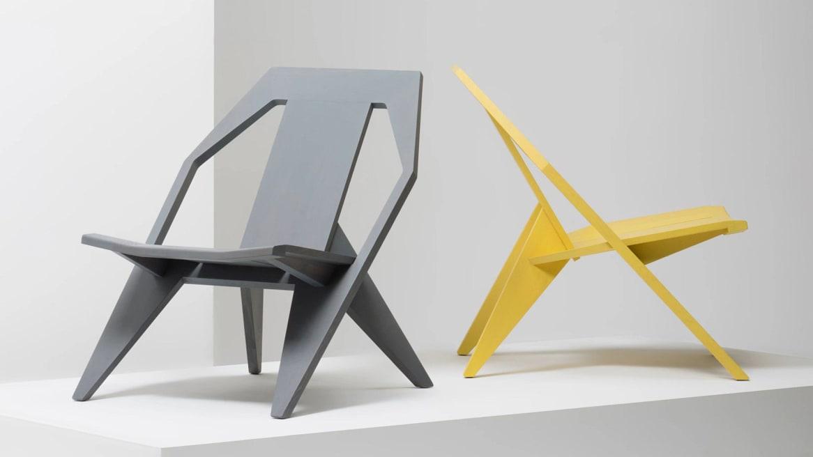 Mattiazzi Medici Lounge Chairs on gray and yellow.