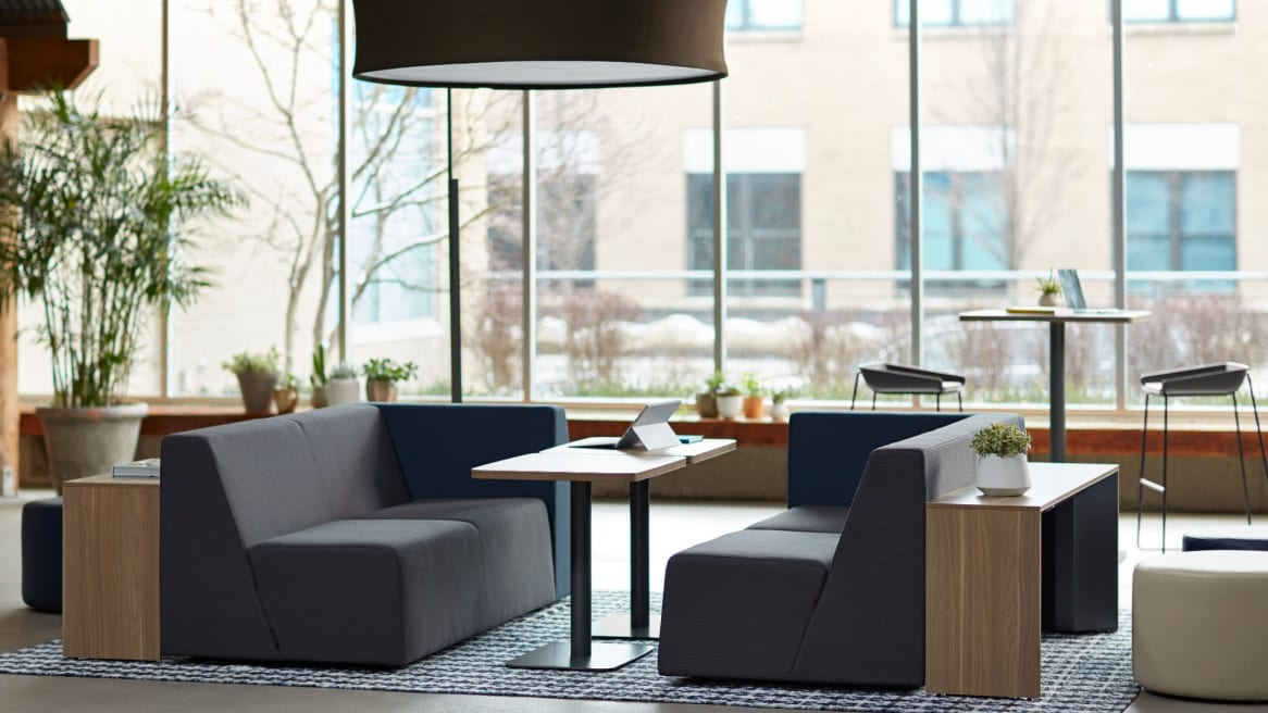 simple tables with lounges around them
