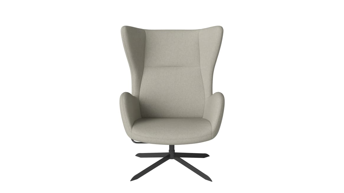 on white image of a gray solo armchair