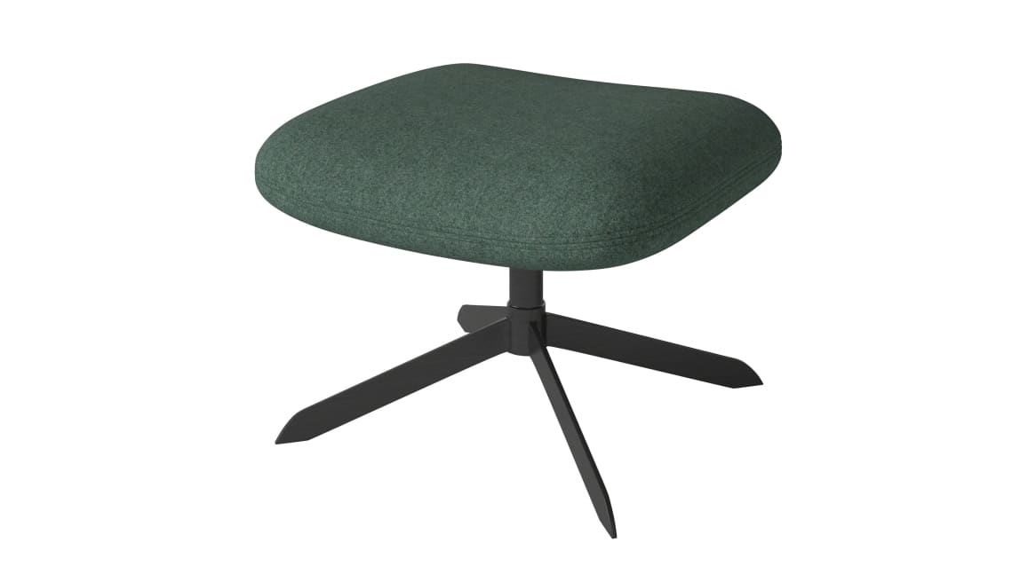 side view of a solo stool with green cushion