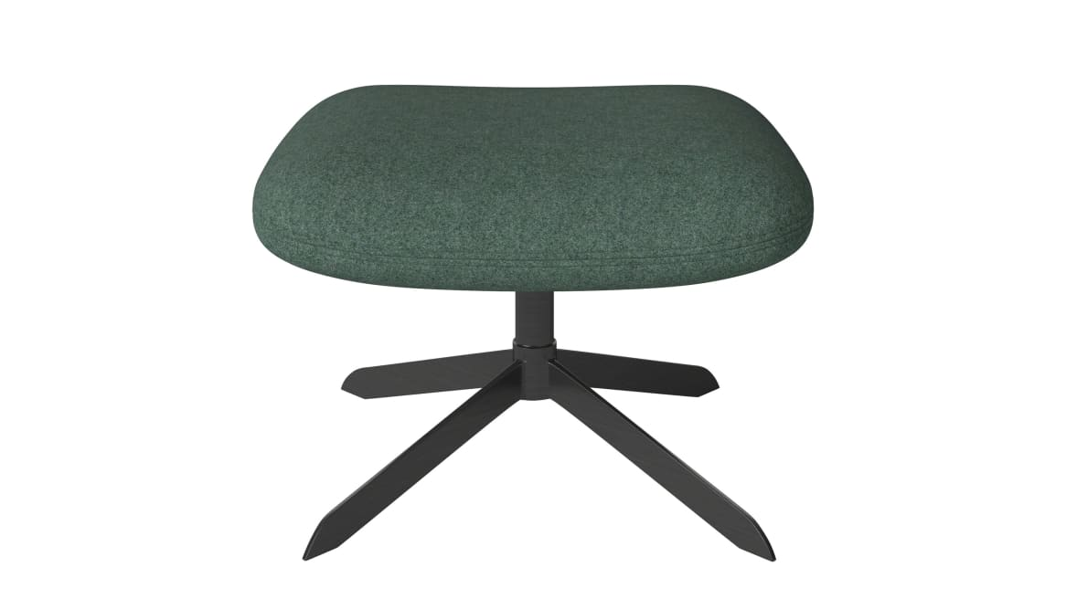 on white image of a solo stool with green cushion
