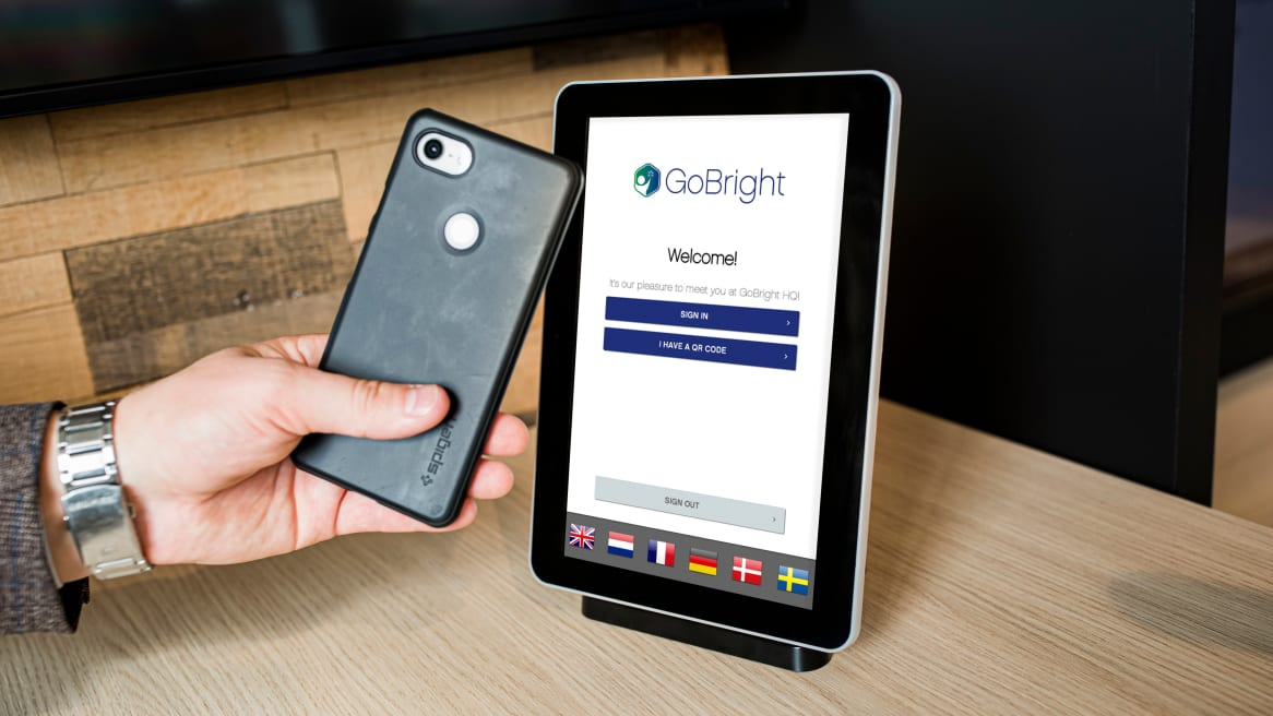 GoBright Work scheduling system on a tablet