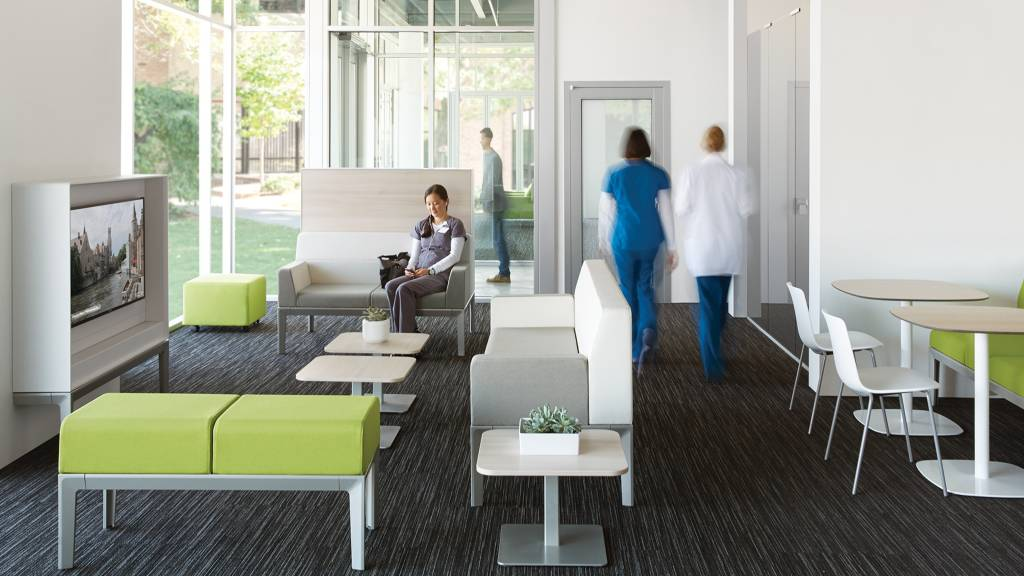 A clinician retreat near the clinicians' hub provides a combination of social and private spaces that can include a small kitchen, eating area, media bar, personal lockers and a separate enclosed respite area for one person.