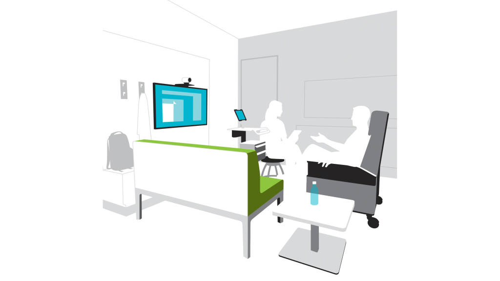 Multi Purpose Exam Room This Space Encourage Patients Families And Clinicians To Exercise The New Roles Relationships Of Connected Healthcare