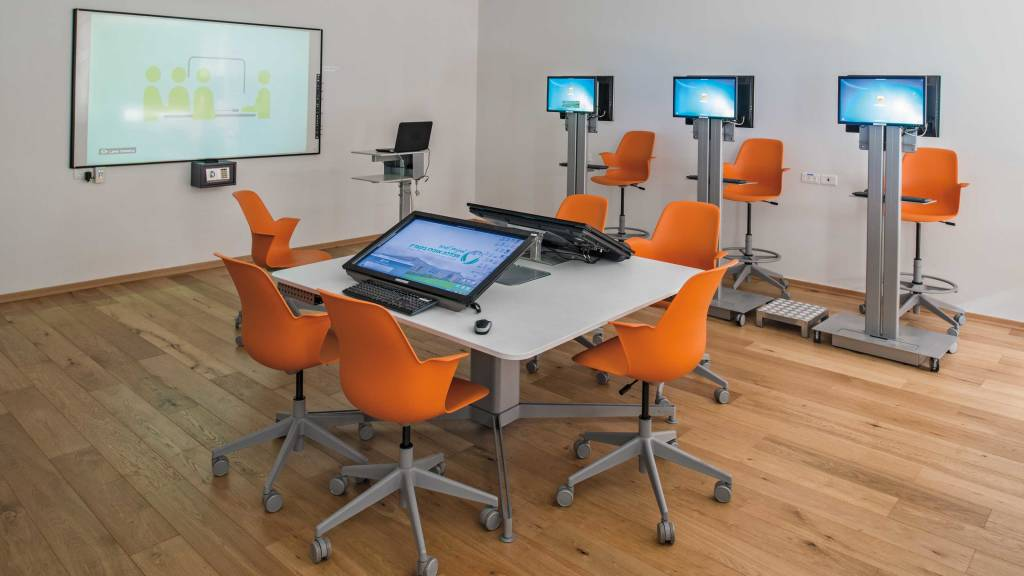 Small Classroom: Supports up to 16 students and can easily be reconfigured to support different learning modes.