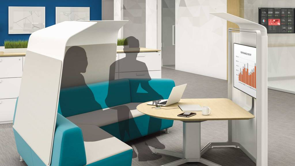 Include spaces with shielded boundaries to allow workers to concentrate alone or have a quiet one-on-one conversation without taking up valuable real-estate. These spaces can be co-located throughout to provide areas for on-demand team collaboration.